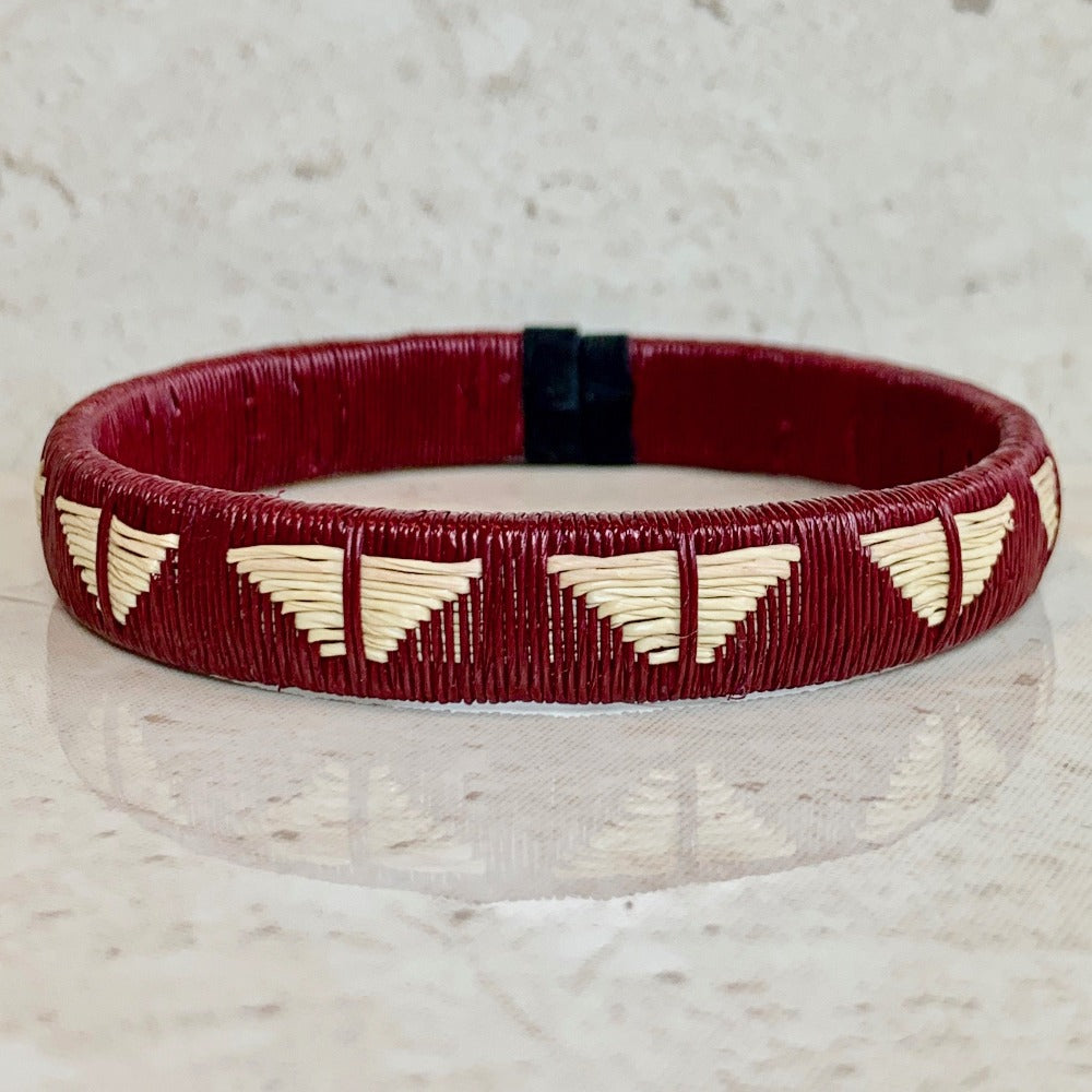 Burgundy wine red friendship bracelet butterfly colombia palm thread sustainable fair trade ethical