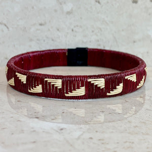 Burgundy wine red friendship bracelet  colombia palm thread sustainable fair trade ethical