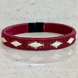Burgundy wine red friendship bracelet island colombia palm thread sustainable fair trade ethical