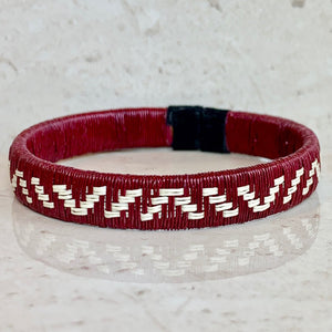 Burgundy wine red friendship bracelet mountain colombia palm thread sustainable fair trade ethical