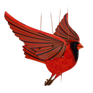Cardinal Flying Mobile. Ethical Home Decor. Handmade & Hand-painted in Colombia.
