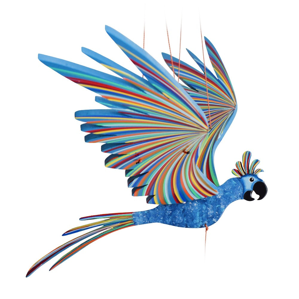 Blue Cockatiel Parrot Flying Bird Mobile - Handmade Gift - Ethical Home Decor