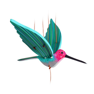 Anna's Hummingbird pink teal aqua grey handmade flying mobile fair trade ethical home decor colombia