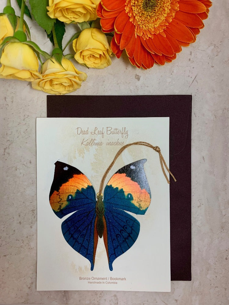 Dead Leaf Butterfly Ornament Handmade Wholesale Notecard thank you sympathy get well birthday ethical gift