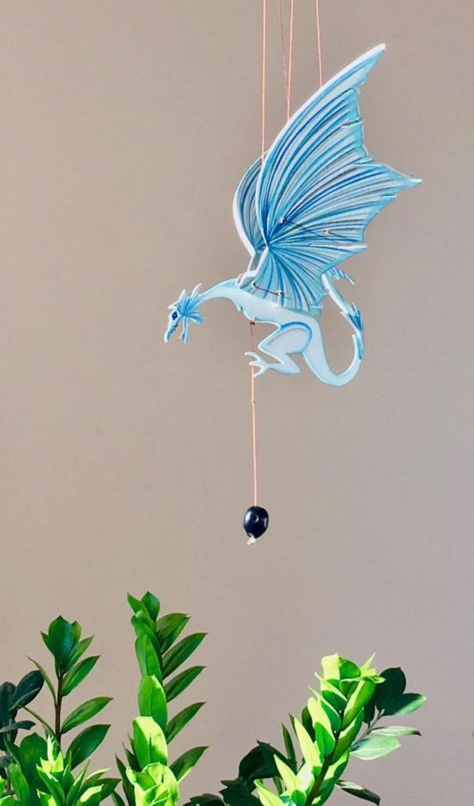 Ice Dragon Flying Mobile. Handmade & Hand painted in Colombia. Ethical Home Decor. Gift for Game of Thrones Fans.