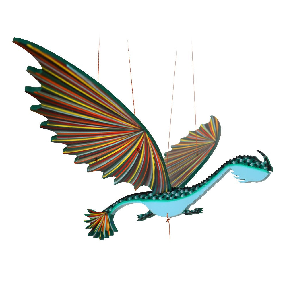 Dragon Flying Mobile Long Neck Lizard green & Blue Handmade Fair Trade Colombia Ethical Home Decor
