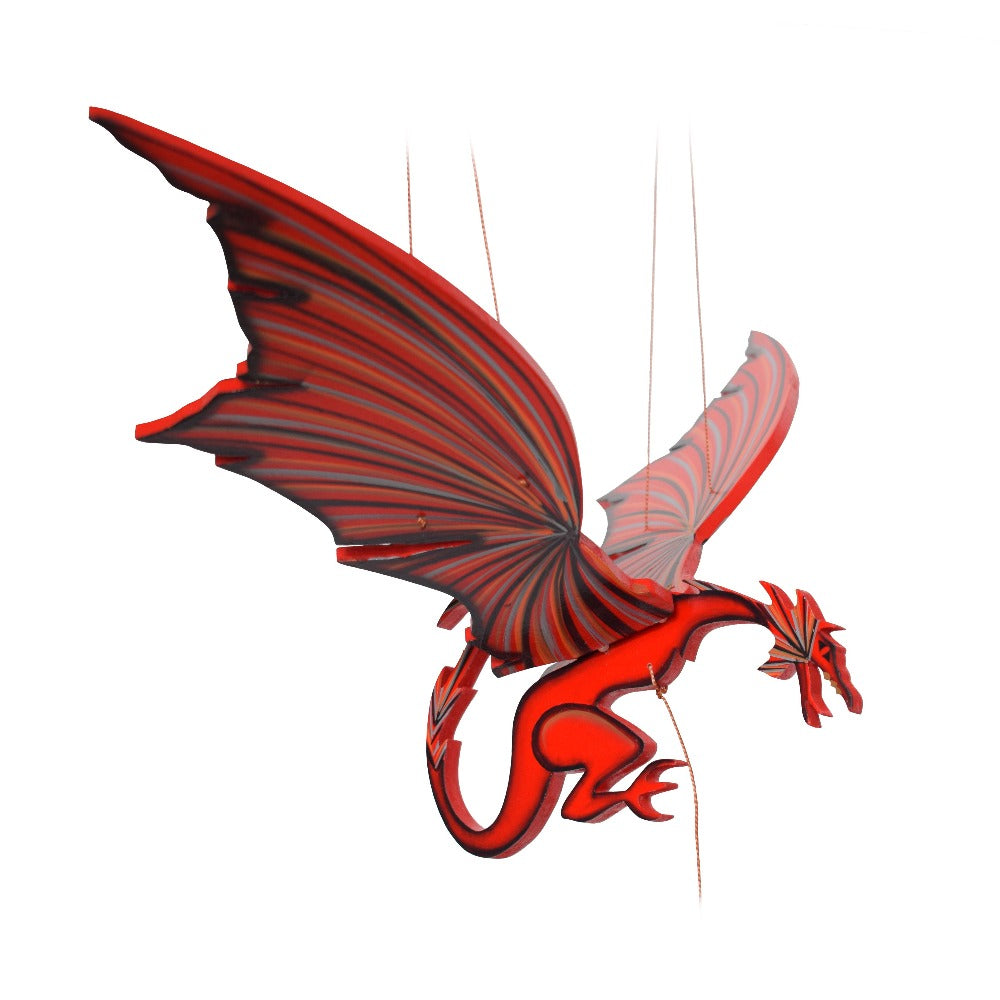 Welsh Welch Dragon Flying Mobile. Handmade & Hand painted in Colombia. Ethical Home Decor. Gift for Game of Thrones Fans.