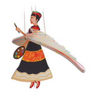 Frida Kahlo Painter flying mobile handmade ethical home decor. Mexican Design.