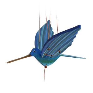 Blue Hummingbird Flying Mobile. Handmade & Hand painted in Colombia.  Ethical Home Decor.  Pollinator & Gardener gift ideas.