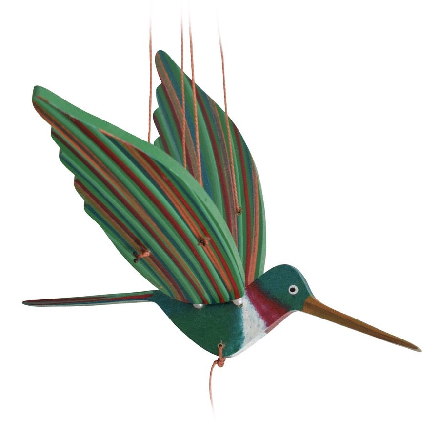 Ruby Throated Flying Mobile. Handmade & Hand painted in Colombia.  Ethical Home Decor.  Pollinator & Gardener gift ideas.