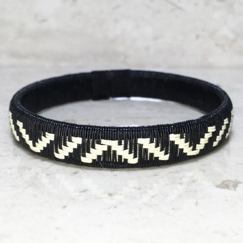 Friendship Bracelet - Black & White Mountain Design - Unique Handmade Gift