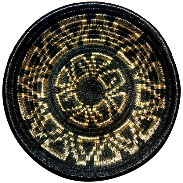Woven Art Basket Plate Gold & Black Unique Handmade Wedding Gift