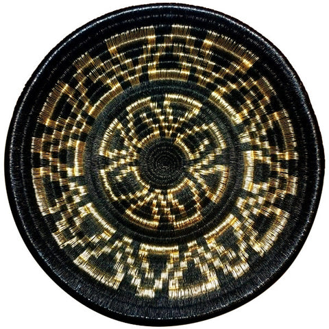 Wounaan Folk Art Plate Basket WP052 - Black & Gold Fishhooks - Unique Handmade Gift