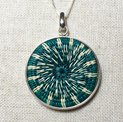 Turquoise Star Burst Woven Pendant - 16in Silver Chain Necklace - Unique Handmade Gift