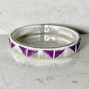 Silver Purple bangle bracelet colombia wounaan butterfly ethical sustainable jewelry fashionista casual luxury elegant