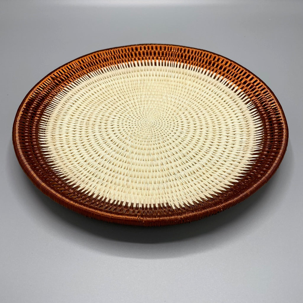 Wounaan wall art plate basket. Raw palm leaf with copper wire.