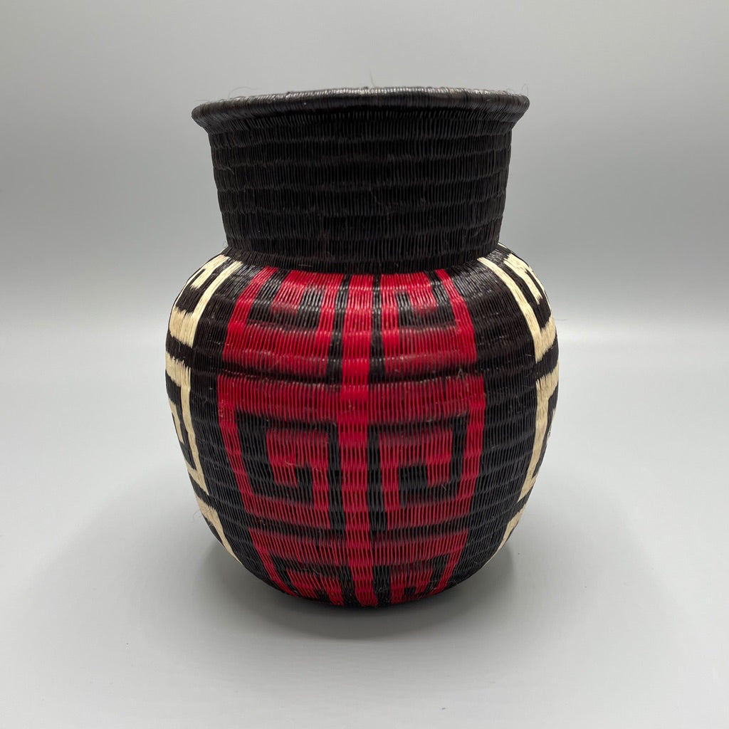 Indigenous Wounaan Art Vase from Colombia. Handmade & Fair Trade. Black & White & Red. Chunga Palm basket