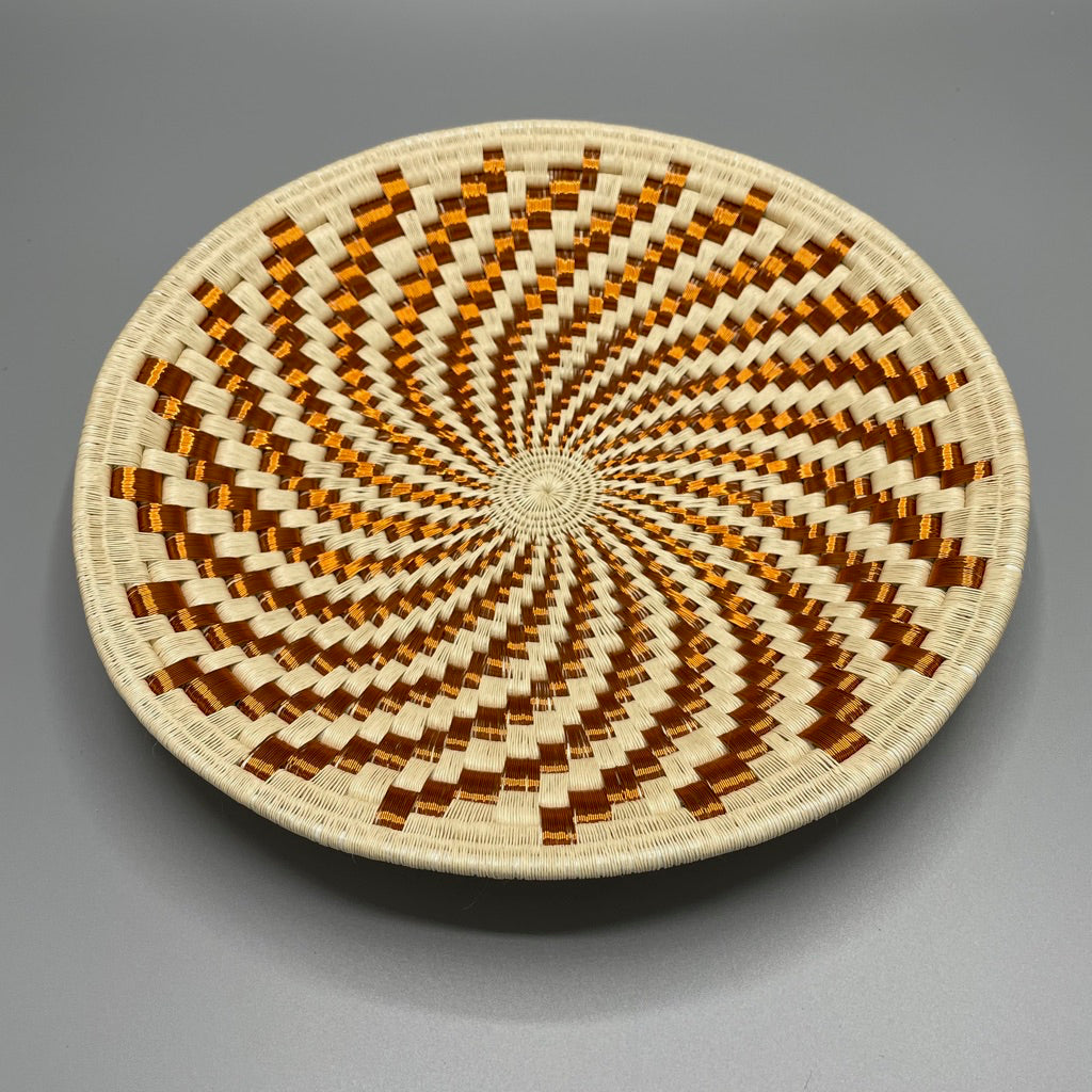 Indigenous Wounaan Art Plate from Colombia. Handmade & Fair Trade. Beige & Copper Wire. Chunga Palm basket