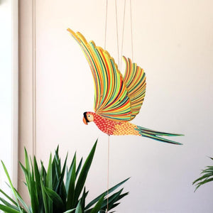 Parrot Macaw Bird Flying Mobile. Ethical Home Decor. Handmade & Hand painted in Colombia.