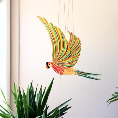 Parrot Macaw Flying Bird Mobile - Unique Handmade Gift