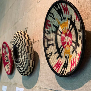 Indigenous Wounaan Art Plate from Colombia. Handmade & Fair Trade. Black & white, yellow, Red. Chunga Palm basket