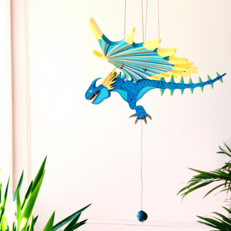 Dragon Spike Flying Mobile - Handmade Gift - Ethical Home Decor