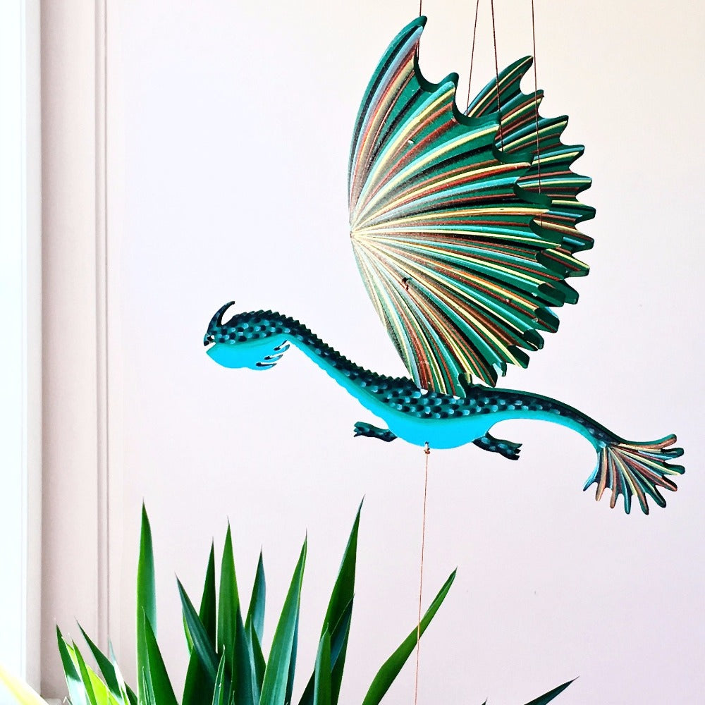 Dragon Lizard Flying Mobile Handmade ethical Gift Home Decor