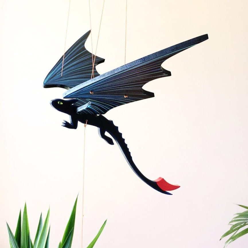 Black Dragon Toothless flying mobile ethical home decor handmade painted wooden mobile