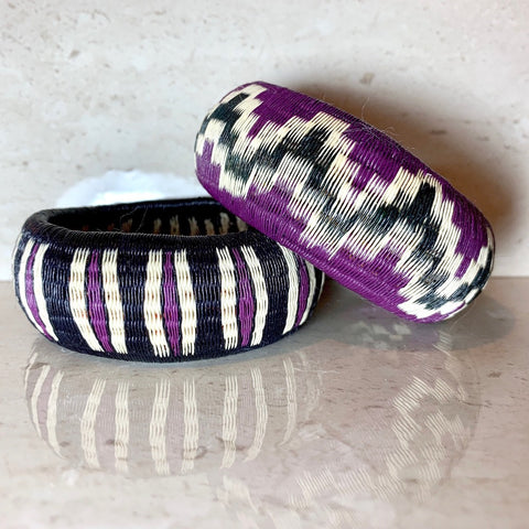 Woven Bangle Bracelet - Basket Weave - Deep Purple - Unique Handmade Gift