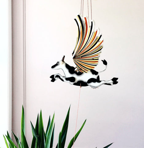 Cow (Holstein) Flying Mobile - Unique Handmade Gift