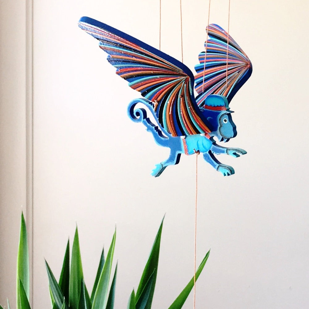 Flying Monkey Mobile. Wizard of OZ. Ethical Home Decor. Handmade & Hand-painted in Colombia.
