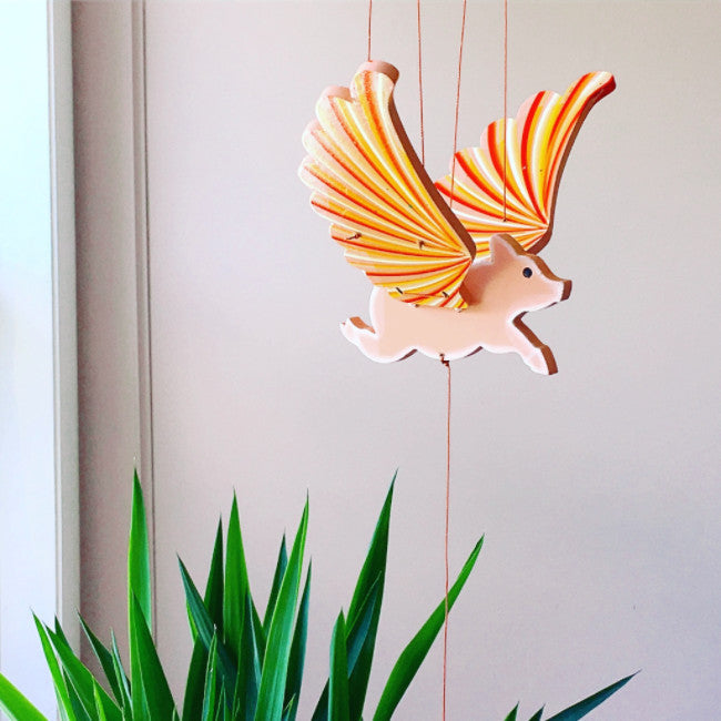Flying Pig Mobile - Handmade Gift - Home Decor showpigs fly planet pig breeder marathon zoo farm museum
