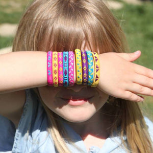 Children kids size bracelet blue yellow American Girl Doll friendship handmade