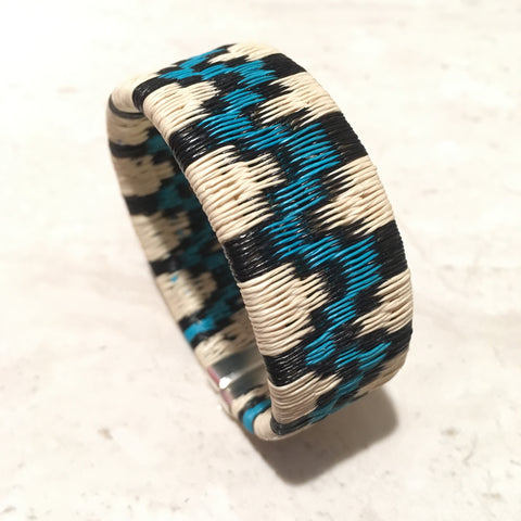Woven Cuff Bracelet - Lt. Blue Mountain Design - Unique Handmade Gift