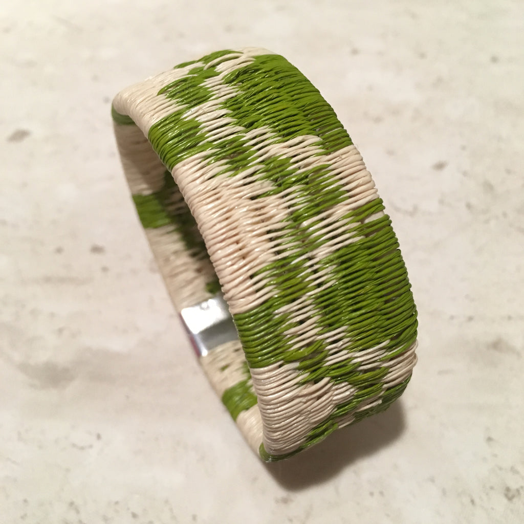 Woven Cuff Bracelet - Spring Green Mountain Design - Unique Handmade Gift