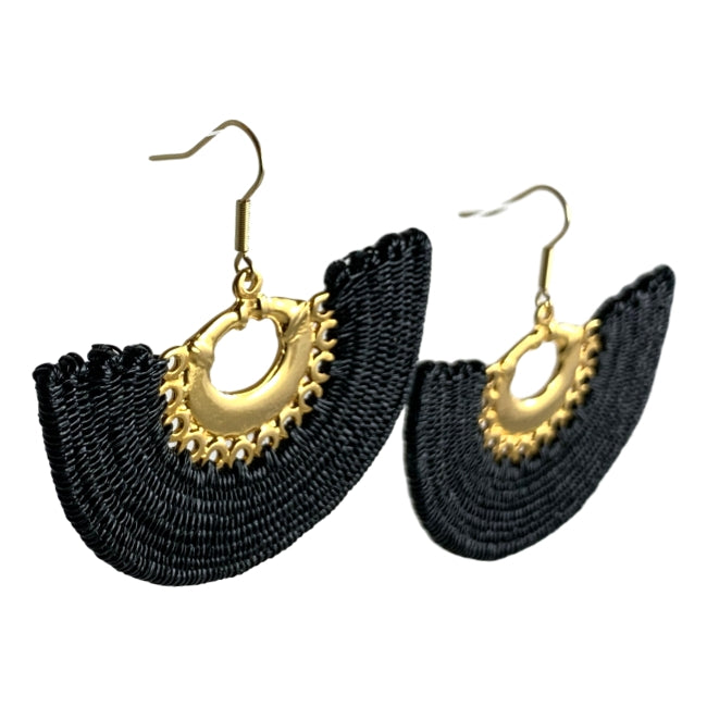 Linda woven earrings jewelry unique fashion handmade artisan colombia fair trade gold black #Earrings