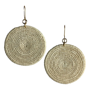 Emma woven fashion earrings jewelry colombia handmade artisan fair trade natural beige white gold ethical sustainable