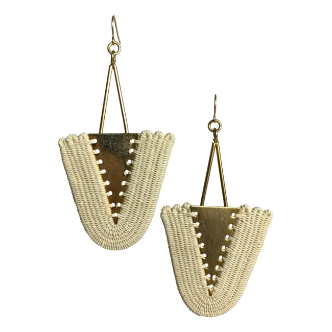 Isabel woven earrings jewelry unique fashion handmade artisan fair trade colombia giveback gold white natural beige