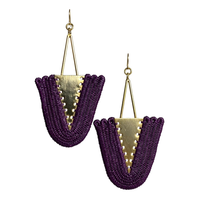 Isabel woven earrings jewelry unique fashion handmade artisan fair trade colombia giveback gold purple