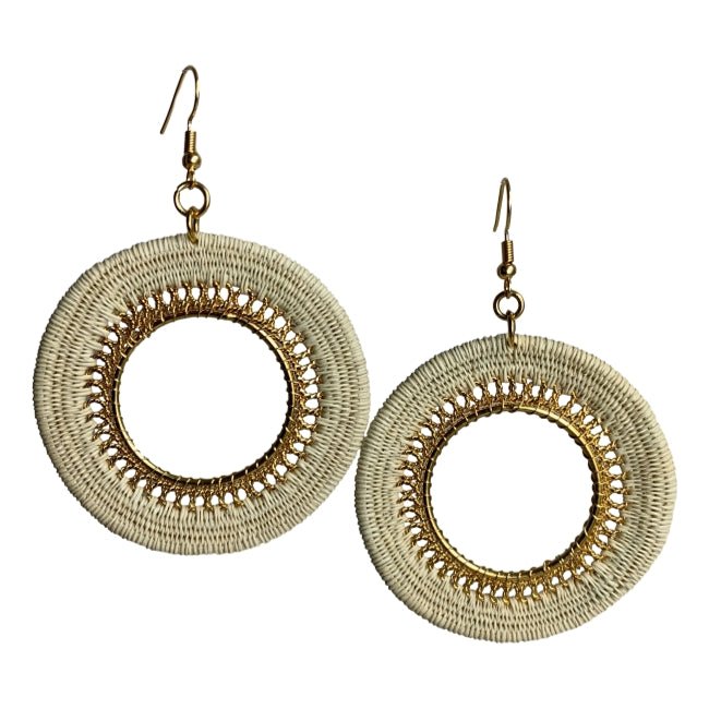 Vivian woven earrings unique fashion jewelry handmade artisan colombia fair trade #earrings gold white beige