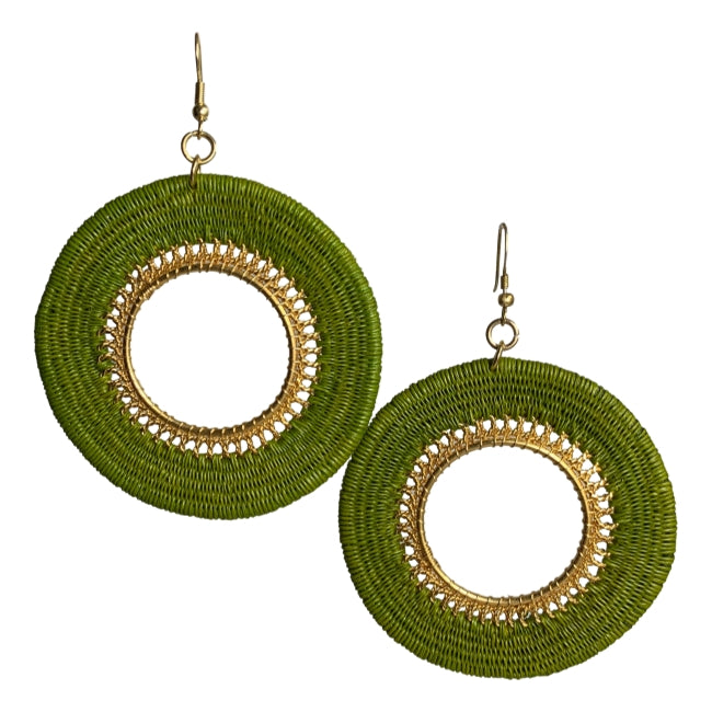 Vivian woven earrings unique fashion jewelry handmade artisan colombia fair trade #earrings gold green ethical sustainable