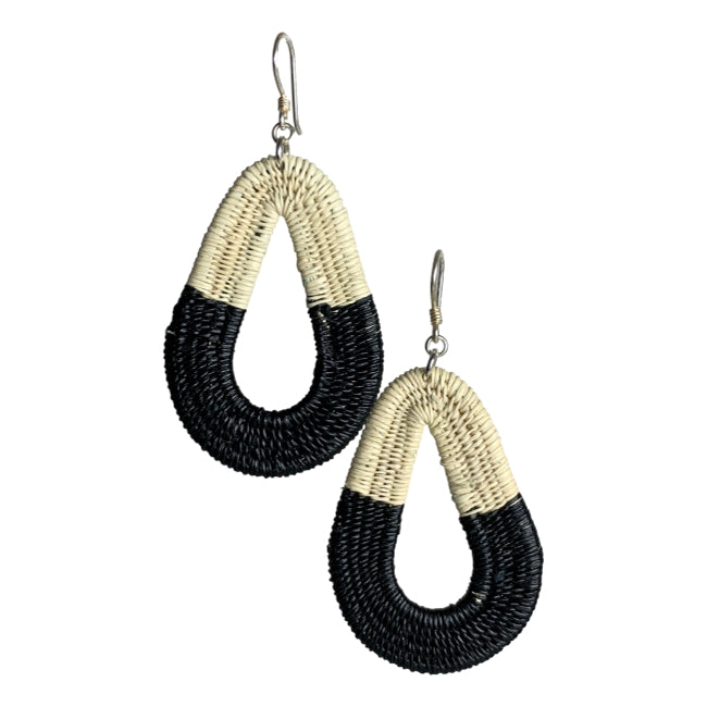 Miriam Woven earrings jewelry unique handmade fashion artisan fair trade colombia #earrings black white ethical sustainable