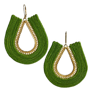 Sophie woven fashion earrings jewelry colombia handmade artisan fair trade green gold ethical sustainable