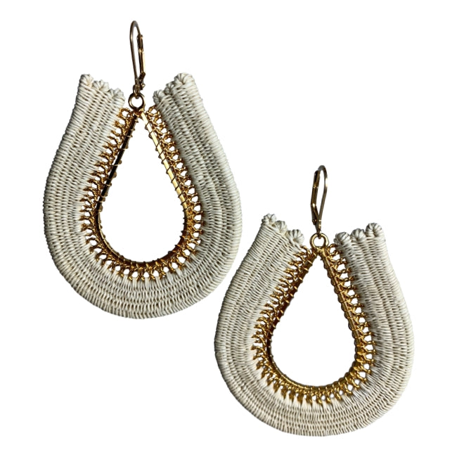 Sophie woven fashion earrings jewelry colombia handmade artisan fair trade white beige gold Ethical sustainable