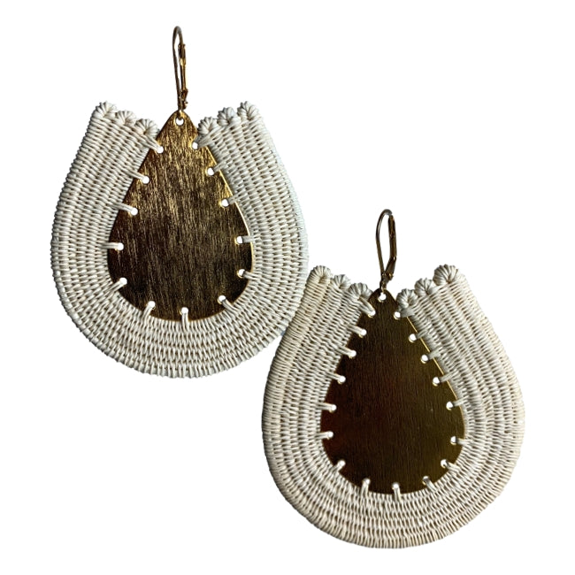 Leticia woven earrings unique handmade jewelry colombia artisan fair trade #earring gold beige ethical sustainable