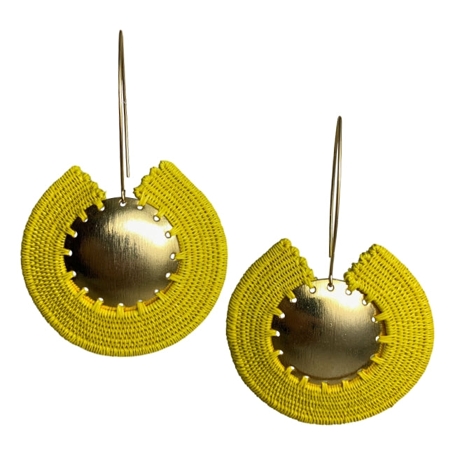 Carmen earrings jewelry woven wounaan colombia handmade artisan fair trade yellow gold ethical sustainable