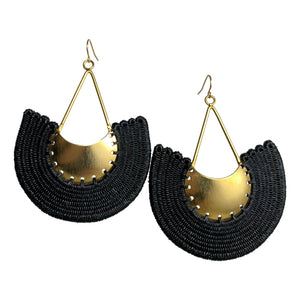 Margarita woven earrings jewelry unique handmade colombia fair trade #earrings gold black ethical sustainable