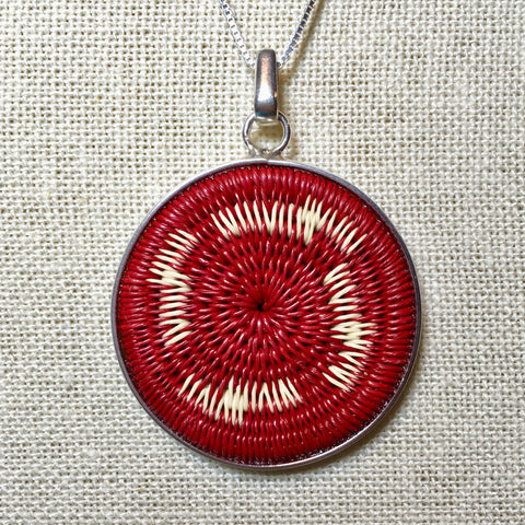 Red Woven Pendant - 16in Silver Chain Necklace - Unique Handmade Gift