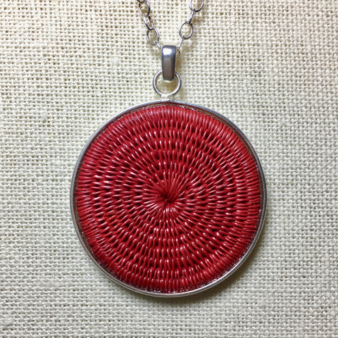 Red Solid Woven Pendant - 16in Silver Chain Necklace - Unique Handmade Gift