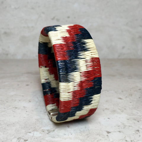 Woven Cuff Bracelet - Red & Black & White - Unique Handmade Gift